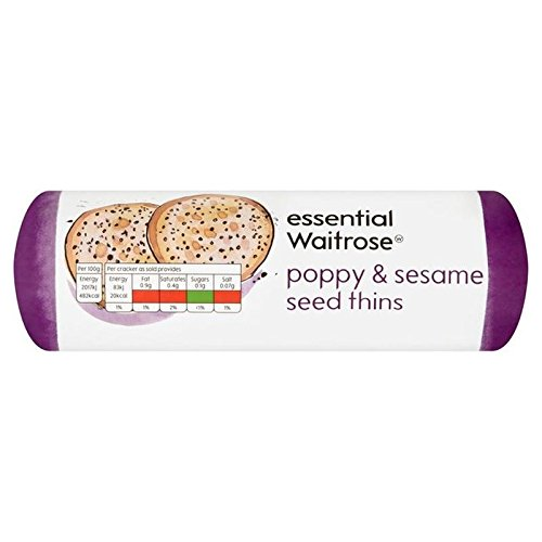 Poppy & Sesame Seed Thins essential Waitrose 150g (Pack of 4)
