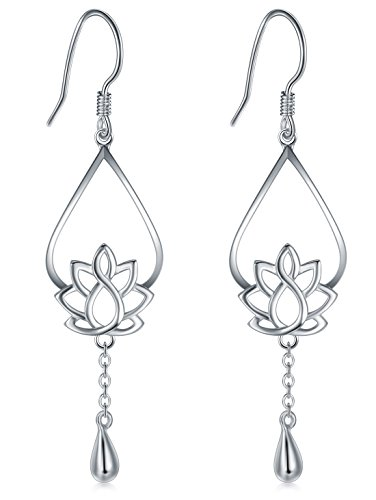 (925 Sterling Silver Earrings, BoRuo Lotus Flower Yoga Earrings)