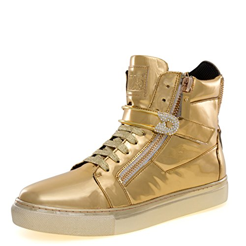 J75 by Jump Men's Zion Round Toe Rhinestone Strap Lace-Up High-Top Sneaker Gold 13 D US Men by Jump