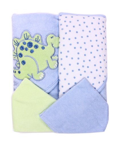 Spasilk Hooded Terry Bath Towel with Washcloths, Dino Blue,