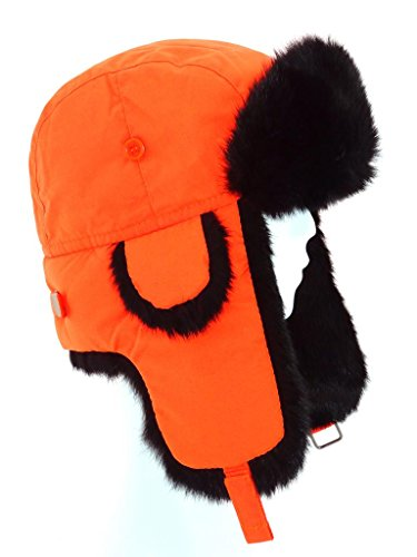 Rabbit Fur Trooper Hat - FUR WINTER Taslon Rabbit Fur Aviator Outdoor Trapper Trooper Hat ORG 2/3XL Orange