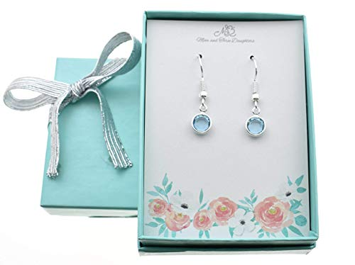 Woman's March Aquamarine Earrings in Silver Plated Channel-set Swarovski Crystal on Stainless Steel Wires. March Birthstone. Aquamarine
