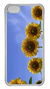 Customized iphone 5C PC Transparent Case - Few Sunflowers Personalized Cover