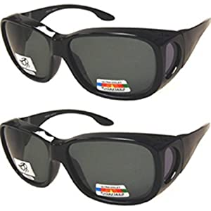 Men and Women Unisex Polarized Fit Over Sunglasses - Wear Over Prescription Glasses. Size Large. (2 Pair) Black (2 Carrying Case Included)
