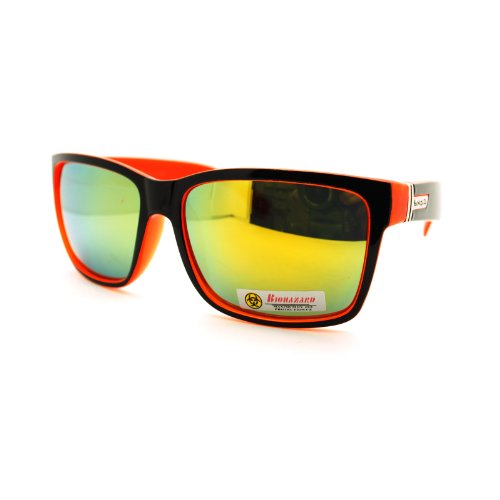 Biohazard Colorful Mens Rectangular Sport Horn Rim Revo Lens Sunglasses Orange