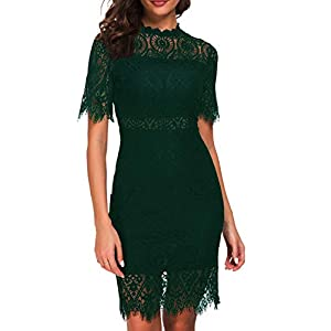 Zalalus Women's Elegant High Neck Short Sleeves Lace Cocktail Party Dress 26