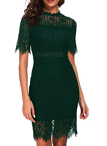 Zalalus Women's Lace Dresses for Cocktail Wedding Party Elegant High Neck Short Sleeves Above Knee Length Summer Bodycon Casual Midi Dress Dark Green US6