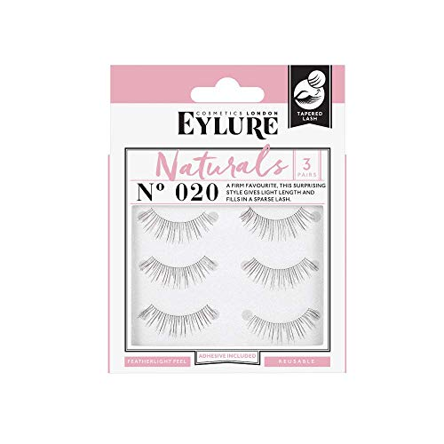 (Multi Pack- 3 Pairs) Eylure Naturalites #020 False Eyelashes, Black