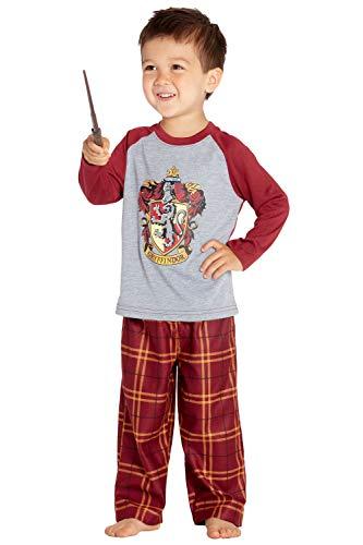 HARRY POTTER Boys' Raglan Shirt and Plaid Pajama Pants Set- All 4 Houses (5T, Gryffindor Scarlett) (Pajamas Shirt Pants)