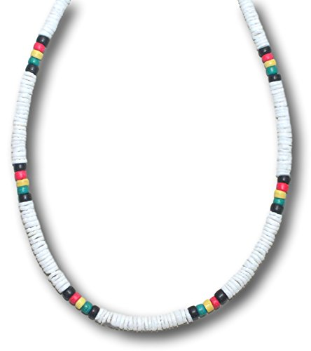 Clasp Shell (Native Treasure - Colored Clam Heishe Puka Shell Necklace with Lobster Clasp (White Rasta))