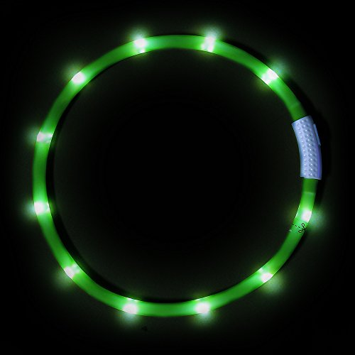 Light Up LED Dog Collar, Clan_X USB Rechargeable Silicone Glowing Pet Collar for Dogs, Flashing Doggy Collars Keep Your Dogs Be Seen& Be Safe (Green-Silicone)