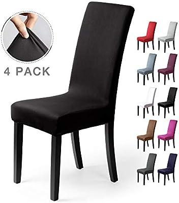 Fundas para sillas Pack de 4 Fundas sillas Comedor Fundas elásticas, Cubiertas para sillas,bielástico Extraíble Funda, Muy fácil de Limpiar, Duradera (Paquete de 4, Negro) : Amazon.es: Hogar