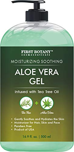 Aloe vera gel from 100 percent Pure Aloe Infused with Tea Tree Oil - Natural Raw Moisturizer for Hand Sanitizing Gel, Skin Care, Hair Care, Sunburn, Acne & Eczema - 16.9 fl oz | 500 ml