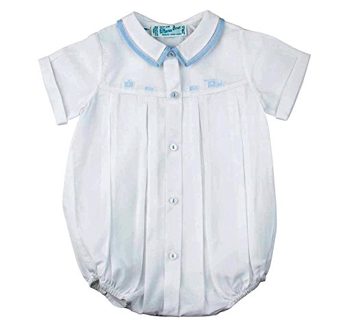 - Feltman Brothers Baby Boys Train Bubble Outfit White/Blue Infant (6 Months)