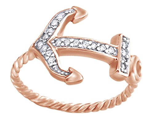 Round Shape White Cubic Zirconia Anchor Engagement Ring In 14k Rose Gold Over Sterling Silver Ring Size-6