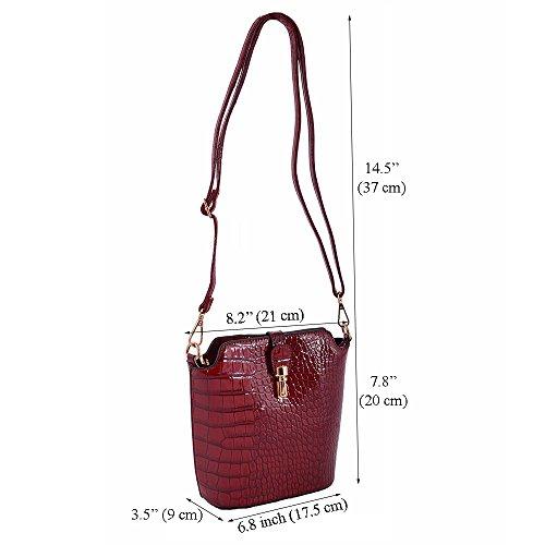 LeahWard® Klein Größe Damen Chic Umhängetasche Faux Crocodile Haut / Ebene AKreuzkörper Handtaschen 160402 C-Marine