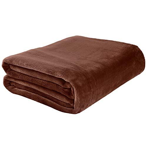 "LotFancy Fleece Blanket, Twin Size, Cozy Flannel Velvet Throw for Couch Bed Sofa Dorm Home, Comfy Plush Microfiber Throw Blanket, Lightweight Brown, 60""x80"""