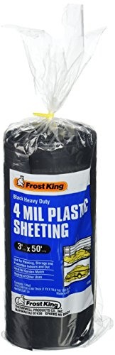Frost King 350B Polyethylene Sheeting, 3ft. X 50 ft. x 4 mil, 3' x 50', Black