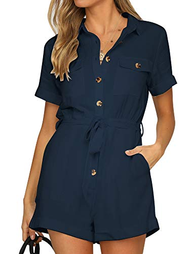 Button Romper Down - Vetinee Women's Navy Summer Pockets Belted Romper Buttons Short Sleeve Jumpsuit Playsuit XX-Large (US 20-22)