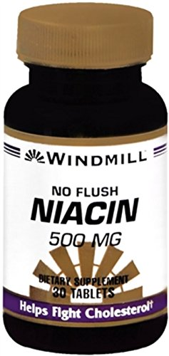 Windmill Niacin 500 mg Tablets No Flush 30 Tablets (Pack of 12) by Windmill