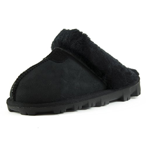 CLPP'LI Womens Slip On Faux Fur Warm Winter Mules Fluffy Suede Comfy Slippers-Black-8 (Pajama Shoes)