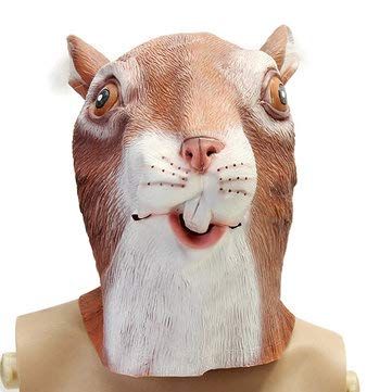 Cute Squirrel Mask Creepy Animal Halloween Costume Theater Prop Party Cosplay Latex - Motorcycle Motorcycle Face Mask - 1 squirrel head face mask -
