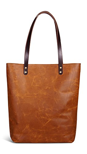 SAVANNA LOVE Authentic Leather USA Handmade Tote Bag (Tan)