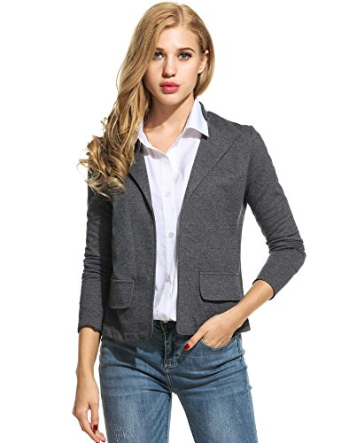 ANGVNS Womens Jackets Long Sleeve Casual Work Office Open Front Women Blazer (Dark Grey / (Washable Suit Jacket)