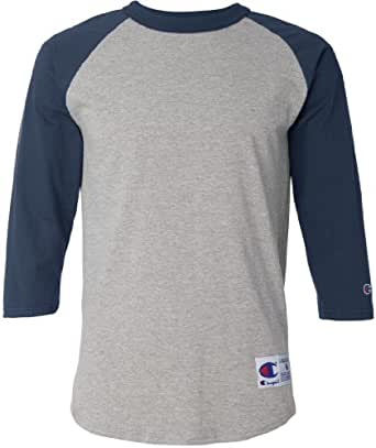 Champion Men's Tagless Baseball Raglan T-Shirt, oxf gry/navy, XX-Large