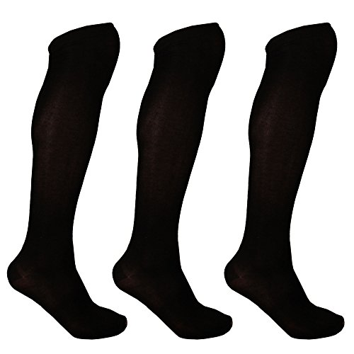 Women's Extra Large Rayon From Bamboo Fiber Knee High Socks - Black - 3prs, Size 10-13