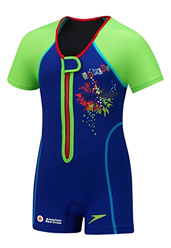 Speedo Kids' UPF 50+ Begin to Swim Thermal Swimsuit, Blue, 7-8