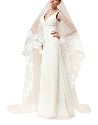 Soft Tulle Wedding Bridal Veil 1 Tier 5 Meters Trailing Long Cathedral Chapel Floor Veils with Elegant Embroidered Lace Trim for Women Bride Lady (Ivory ()