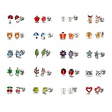 Best Stud Earrings For Girls - Aganippe 20 Pair Sets Cute Animals Hypoallergenic Nickel-free Review