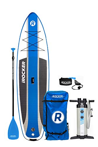 iROCKER Cruiser Inflatable Stand Up Paddle Board 10'6' Long 33' Wide 6' Thick SUP Package (Blue 2018)