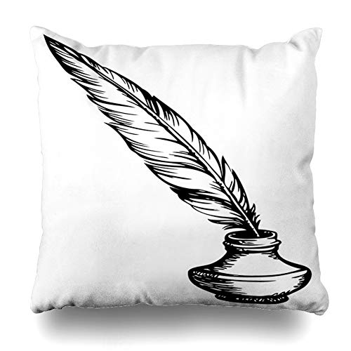 Ahawoso Throw Pillow Cover Square 22x22 Pot Quill Goose Feather Oldfashioned Inkpot Ink Medieval Vintage Pen Well Drawing Handdrawn Design Obsolete Zippered Cushion Pillow Case Home Decor Pillowcase
