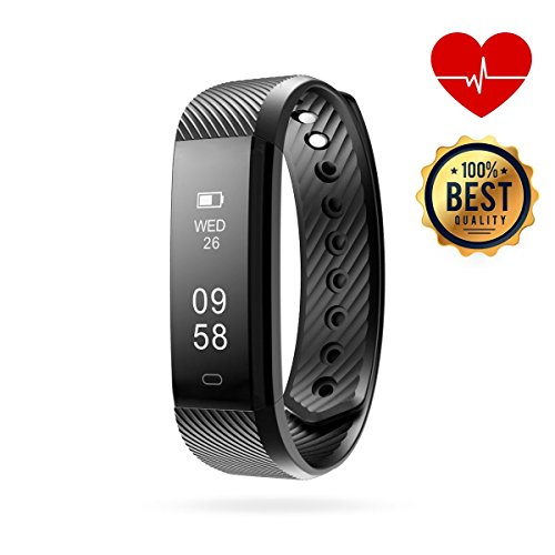 Fitness Tracker, AMPRO Fitness & Personal Activity Tracker Wristband (Waterproof) Monitor Heart Rate, Sleep, Daily Activities | Call, Text Alerts | Calorie Counter | Android & iOS