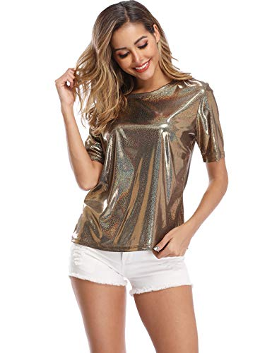 Wudodo Shiny Tops for Women Ultra Soft Loose Holographic Glitter Metallic Short Sleeves Print Blouse Hip Hop Party T-Shirt ()