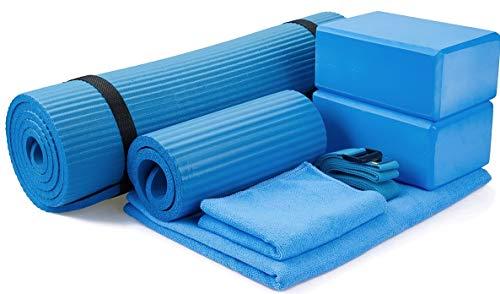 """BalanceFrom GoYoga 7-Piece Set - Include Yoga Mat with Carrying Strap, 2 Yoga Blocks, Yoga Mat Towel, Yoga Hand Towel, Yoga Strap and Yoga Knee Pad (Blue, 1/2""""-Thick Mat)"""