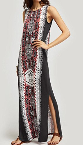 Coolred Floral Vintage Sans Manches Pour Femmes Robes Boho Imprimé Noir
