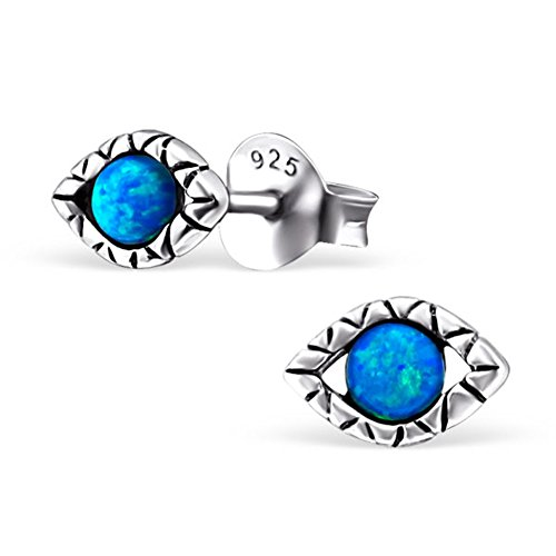 Small Evil Eye Synthetic Opal Silver Earrings Antique Style Stering Silver 925 Post Studs (E23675) (Pacific Blue)