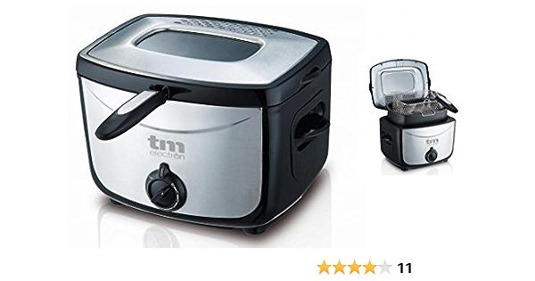 TM Electron TMPFR001 Freidora de 1.5 L, tacto frio, ventana de visión en la tapa, 1500 W, Acero Inoxidable: Amazon.es: Hogar