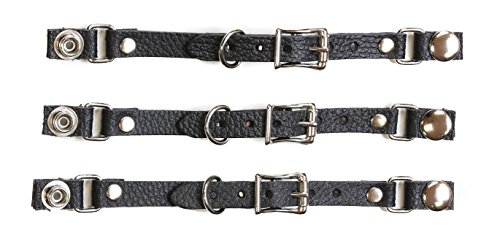 - Leather Buckle Bikers Vest Extender for Mc Jacket Real Leather-3 Pcs (SNAP-LG-10MM, BLACK)