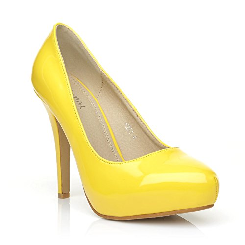 H251 Yellow Patent PU Leather Stiletto High Heel Concealed Platform Court Shoes dYluyxC