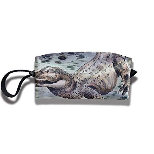 Kla Ju Portable Pencil Bag Cosmetic Pouch Fierce Crocodile Stationery Purse Storage Organizer]()