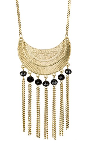 New! Boho Long Gold Antiqued Necklace with Fringe and Black Faceted Beads | SPUNKYsoul Collection (Faceted Bead Fringe)