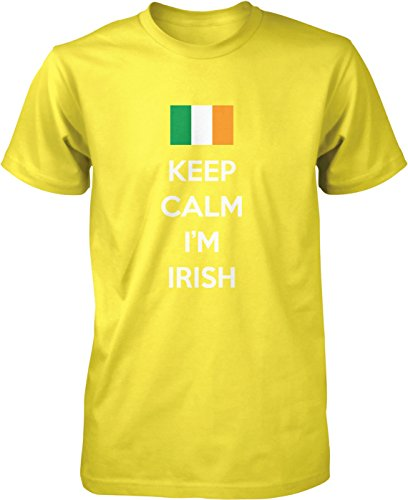 (Hoodteez Keep Calm, I'm Irish, St. Patrick's Day Men's T-Shirt, XXXL Yellow)