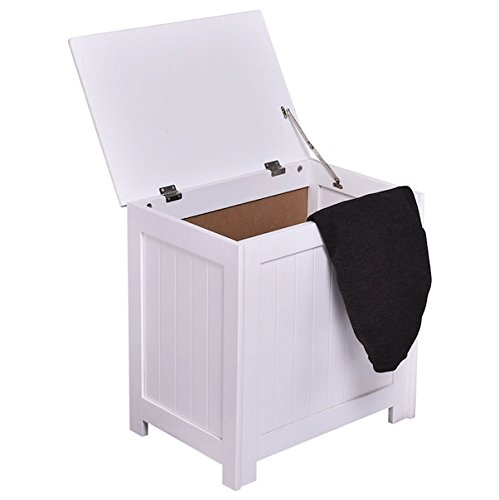 White Laundry Storage Hamper Clothes Wash Washing Organizer Cabinet Sorter Basket Bin Lid Home Décor Bedroom Space Saving Furniture Sturdy And Durable MDF Wood Rectangular Design