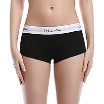 WingsLove Women's 3 Pack Cotton Panties Sport Stretch Boyshorts Boy Briefs Underwear