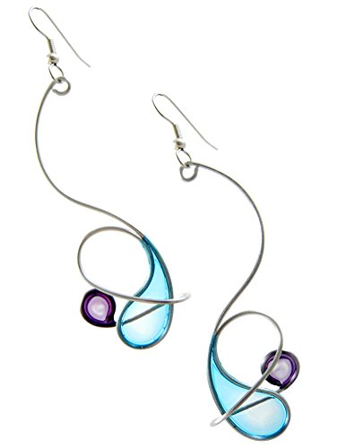 (Kinetic Sculpture Inspired Stainless Steel Art Earrings, Blue Purple Orbit)