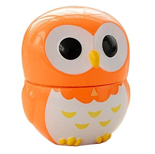 Qingsun Cartoon Owl Shape Kitchen Timers Novelty Cute Cook Cooking Timer Timer Clock Counters 60 min Timer(Orange)